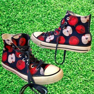 Converse All Star High Top Sneakers Apple Print